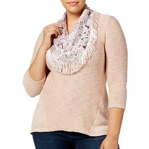 Style & Co Women Sweater Velvet Scarf Cotton Blush